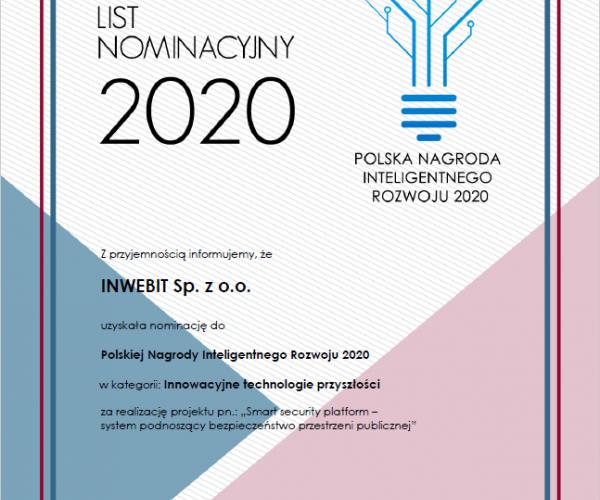 Nominacja do Polskiej Nagrody Inteligentnego Rozwoju 2020