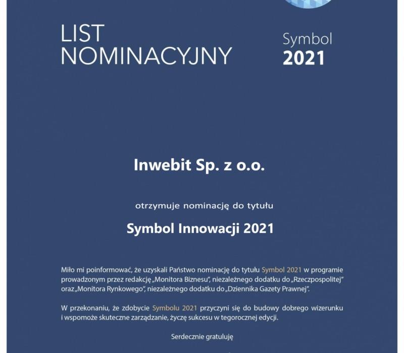 Nominacja do nagrody Symbol Innowacji 2021
